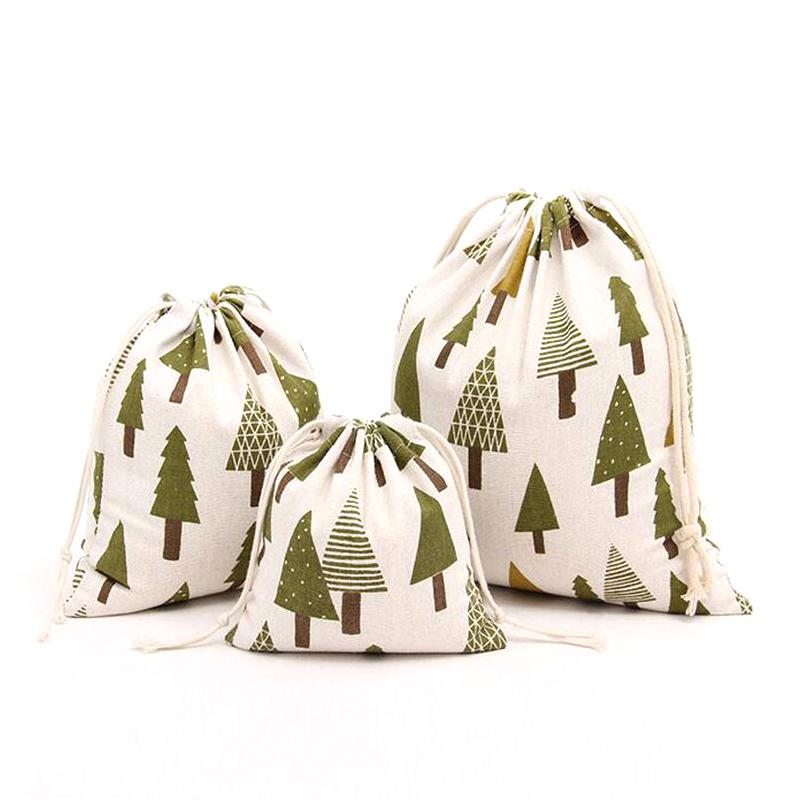1Pcs Christmas Tree Fresh New Original Hand-printed Cotton Cloth Drawstring Pouch Candy Gift Bags B145(China (Mainland))