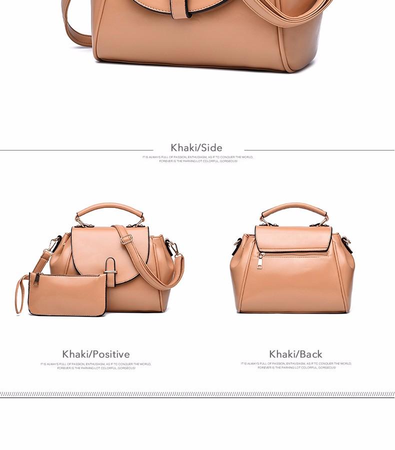 Composite Bag Fashion Bucket Bag Women Trendy Ladylike PU Leather Handbag Elegant Stylish Plain Single Shoulder