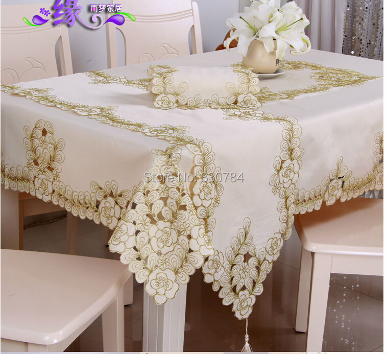 Elegant Polyester Satin Embroidery Floral Tablecloth Solid Color Golden Embroidered Table Linen Cloth Cover Overlay YYM0381(China (Mainland))
