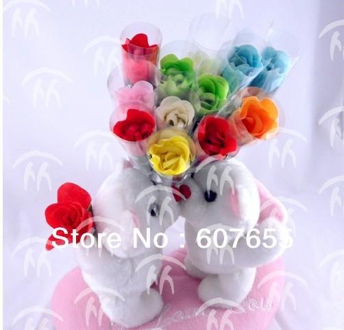 200pcs/lot EMS free shipping gift washing cleaning bath rose Flower pvc petals soap gift organtic wedding favor mulit color