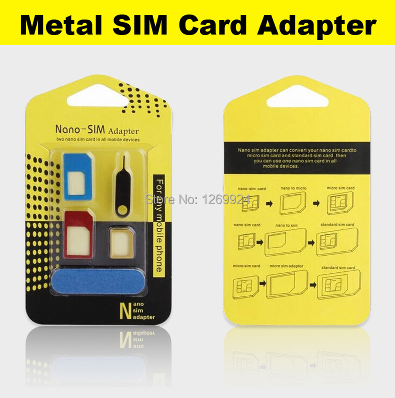 High Quality Metal 5 in 1 Nano Sim Card Adapters Micro Sim Stander Sim Card SIM Card Tools For All Phones With Retail Box(China (Mainland))