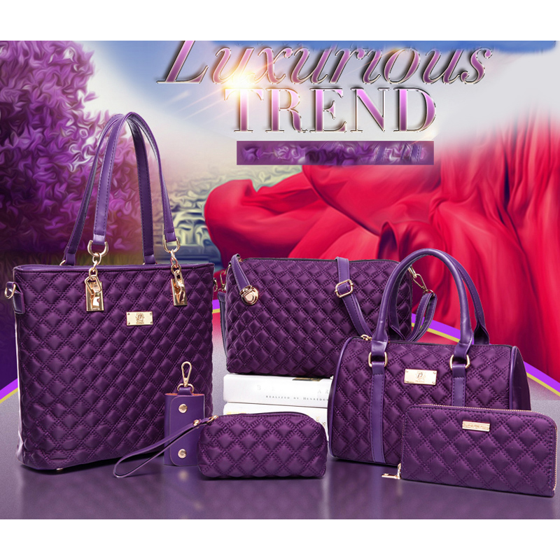 Casual Diamond Lattice Women Brands Oxford Women Business Bag Shoulder Bags Ladies Tote Bag Handbag+Crossbody Bag+Purse 6 Sets<br><br>Aliexpress