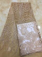 2019 новинка, модель высокого качества Шампанское/золотой вышивкой африканский тюль кружева французский чистая кружевной ткани с блестками ...(China)