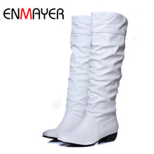 ENMAYER Plus size 43 fashion new arrival Winter Mid-Calf Women Boots Black White Brown flats heels half boots autumn Snow shoes(China (Mainland))