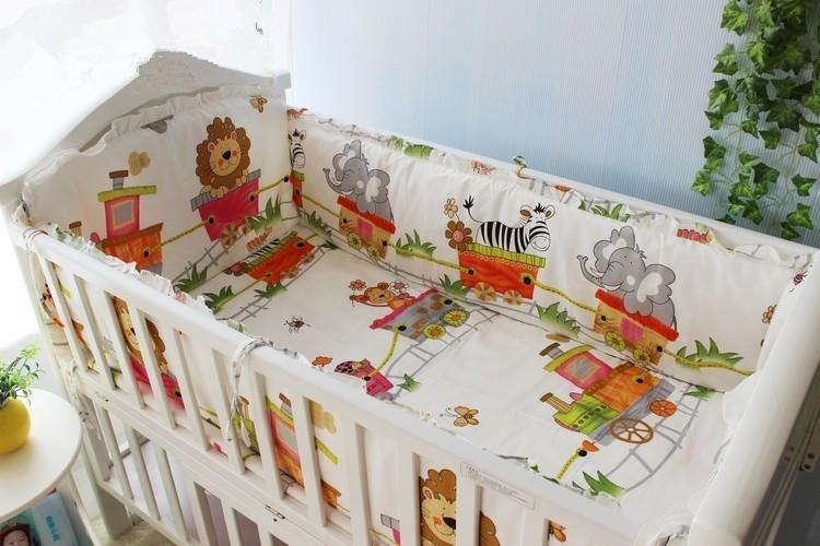 Продвижение! 6 шт. лев мальчик постельное белье комплект 100% хлопок кроватки комплект, кроватки постельного белья, включают ( бамперы + лист + )