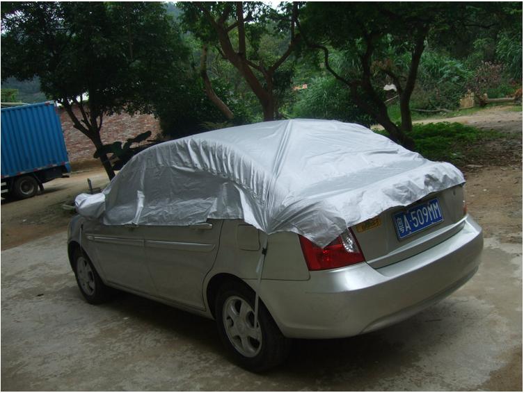 Universal Car Cover Prevent Heat Cold Sun Rain Snow Half Auto Cover for Sedan SUV Pickup PVC Coating Cover M L XL Optional(China (Mainland))