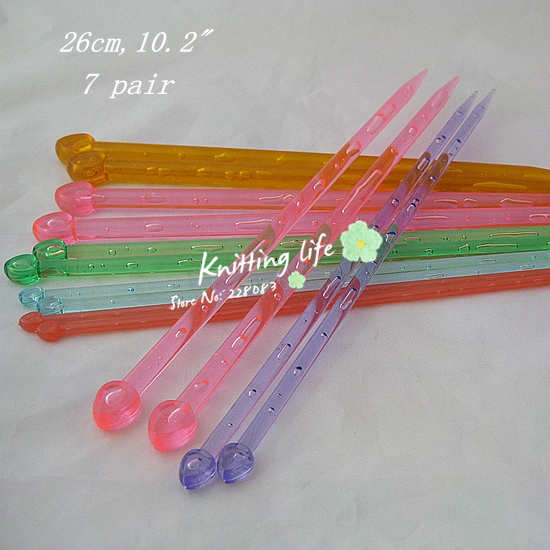 Knitting Tools List : Cm quot pairs plastic single pointed crochet knitting