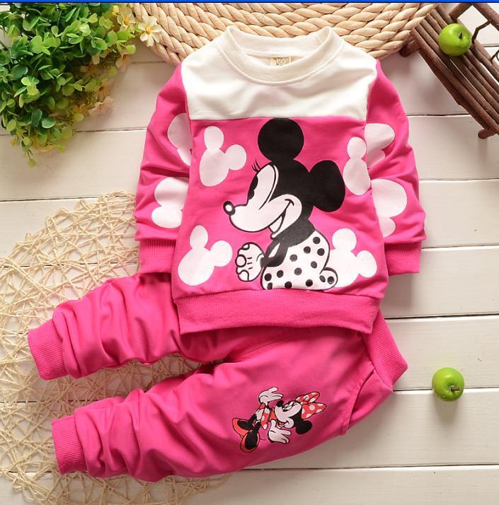 Гаджет  children clothing sets 100% cotton T shirt+pants 2pcs baby clothes suit cartoon Minnie&Micke tracksuit infant clothing set girls None Детские товары