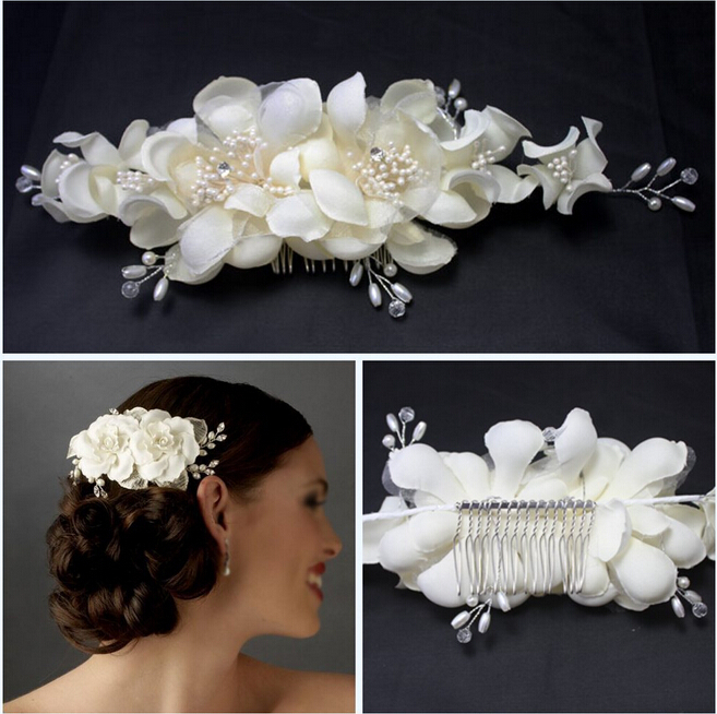 wedding crystal rhinestone pearl hair comb bride white fabric flower jewelry bridal vintage accessories  -  shining store store