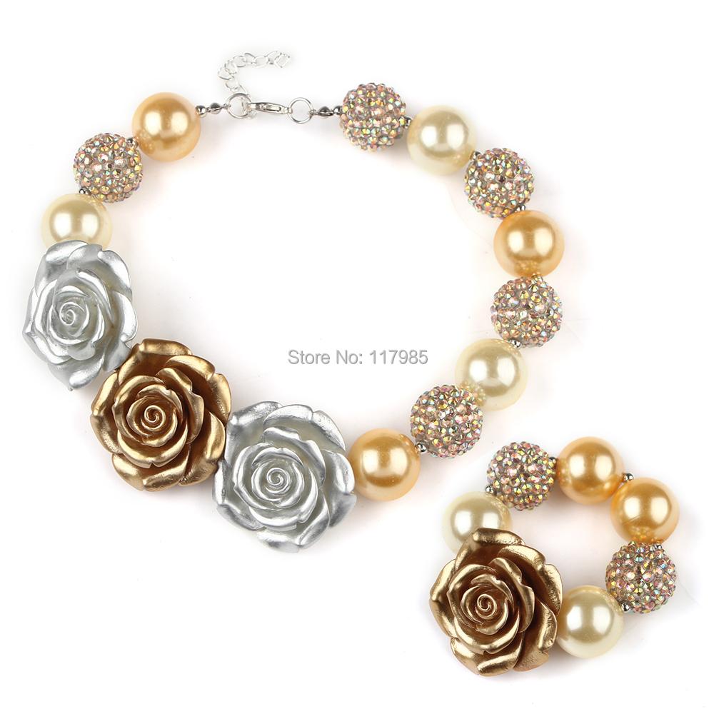 1 компл. золото серебро из бисера коренастый бабблгама ожерелье браслет 3 большой цветок розы девушки ожерелье Set малышей младенческой ну вечеринку одеваются