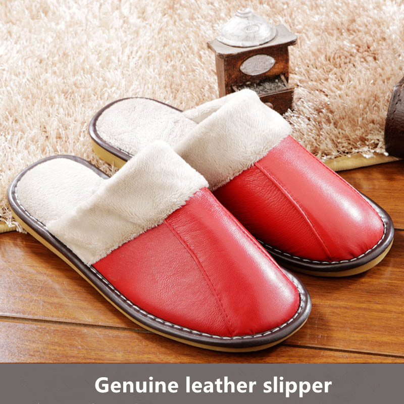 2015 New Arrival Hot Sale Autumn Winter Genuine Leather Home Slippers Women Men Indoor\ Floor Slippers Warm Flat Shoes(China (Mainland))