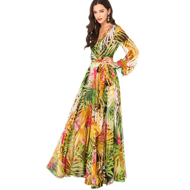 2015 летом женские мода элегантный тропический цветок печать шифона длинный рукав цельный длиной макси шифоновое платье haoduoyi