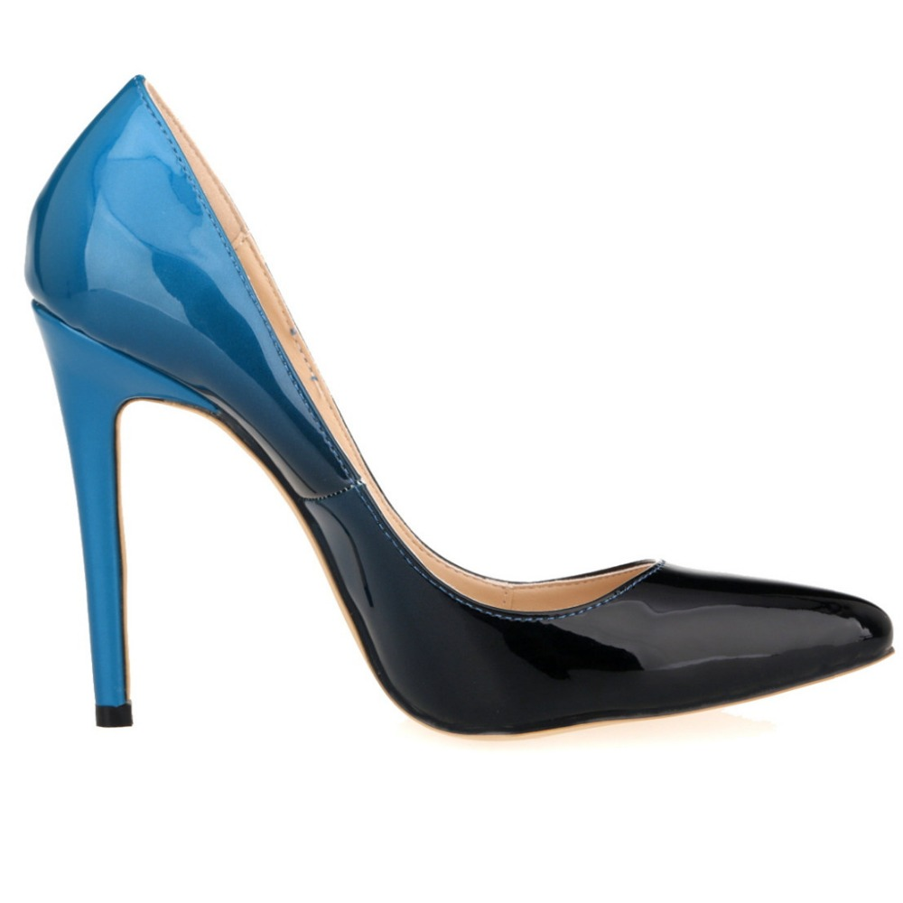 2016 brand blue bottom high heels patent leather women pumps pointed toe sexy ladies stiletto shoes woman big size34-42 Colour6