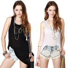 fashion women solid long style t Shirt new summer sleeveless loose tank tops sexy Backless perspectve tops Plus Size 36(China (Mainland))