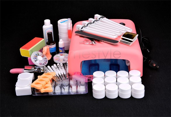 Nail Art Tool Full Set 12 Color UV Gel Nail Kit Brush nail Dryer Nail Art Set + 36W Curing UV Lamp Kit Dryer Curining Tools US50(China (Mainland))
