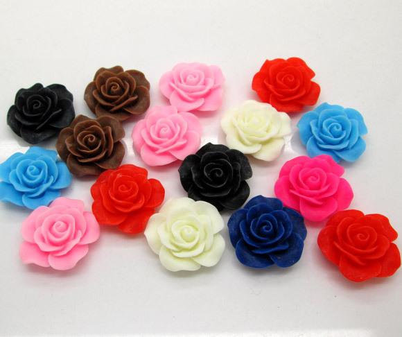 50 Mixed Resin Rose Beads Cabochon Scrapbook Fit DIY Phone Embellishments 25x25mm(China (Mainland))