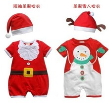 Christmas Gift Baby Rompers +Hat Happy Kids Santa Claus Tree Jumpsuit Spring Autumn Summer Baby Girls Boys Infant Cotton Clothes(China (Mainland))