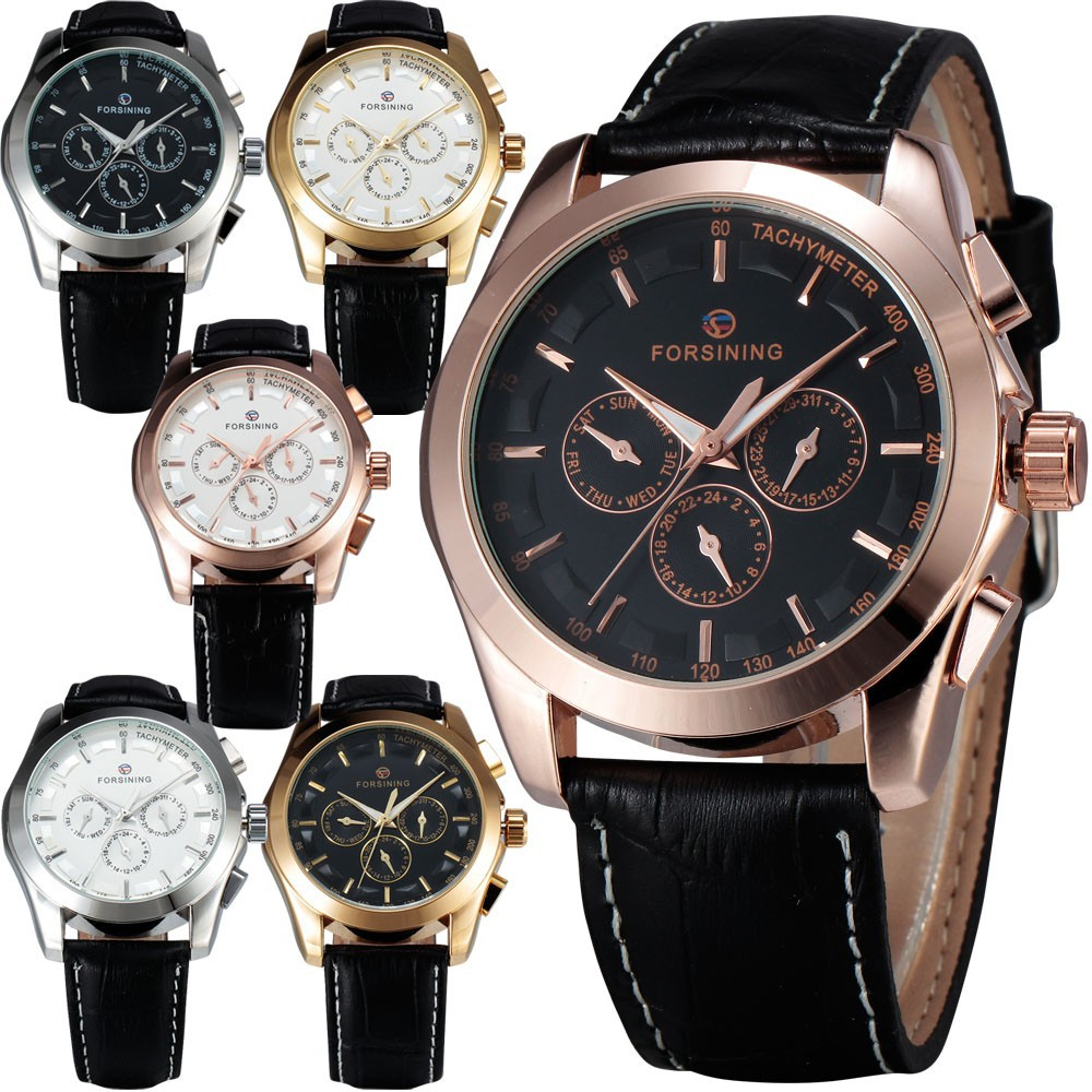 WINNER Men's Automatic Mechanical Wrist Watch Leather Strap Precision Durable Sub Dials Tachymeter W/ Box