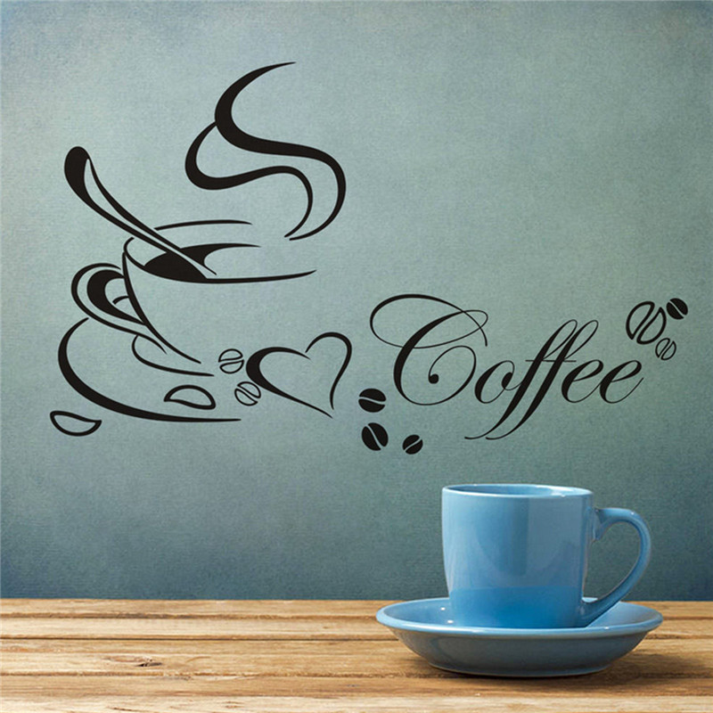 High quality Coffee Cup Heart Sticker Decal Cafe Restaurant Home Kitchen Wall Window Decor Non-toxic Environmental Protection(China (Mainland))