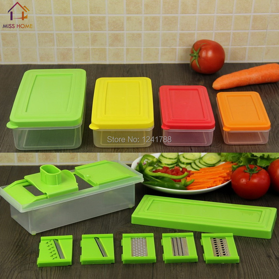 Muli-function Kitchen Organizer Cooking Tools Vegetable Tools Fruits Slicers Graters Scrapper Set With Storage Boxes (MH-1113)(China (Mainland))
