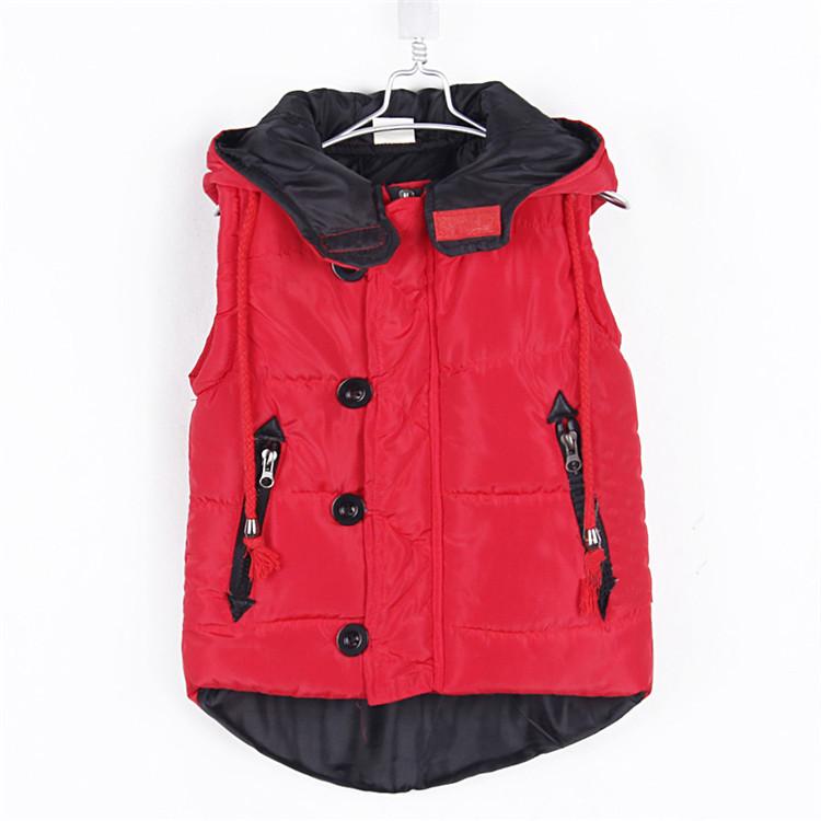 2012 Winter Child Clothing Casual Style Glasses Boys Clothing Girls Clothing Cotton-padded Vest Hooded Fleece Vest 1880(China (Mainland))