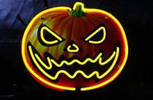 Halloween Pumpkin Head Bar Neon Art Glass sign lights Jack-o-lanterns Wall Hanging lamp 35cm*30cm(China (Mainland))