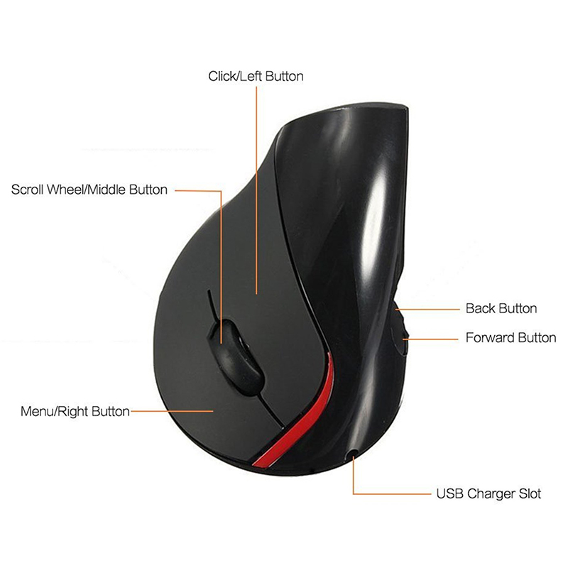 2.4G 2400DPI Wireless Vertical Mouse Ergonomic Rechargeable Computer Mice Built-in Li-ion Battery Game Mouse Gaming Mouse MX15