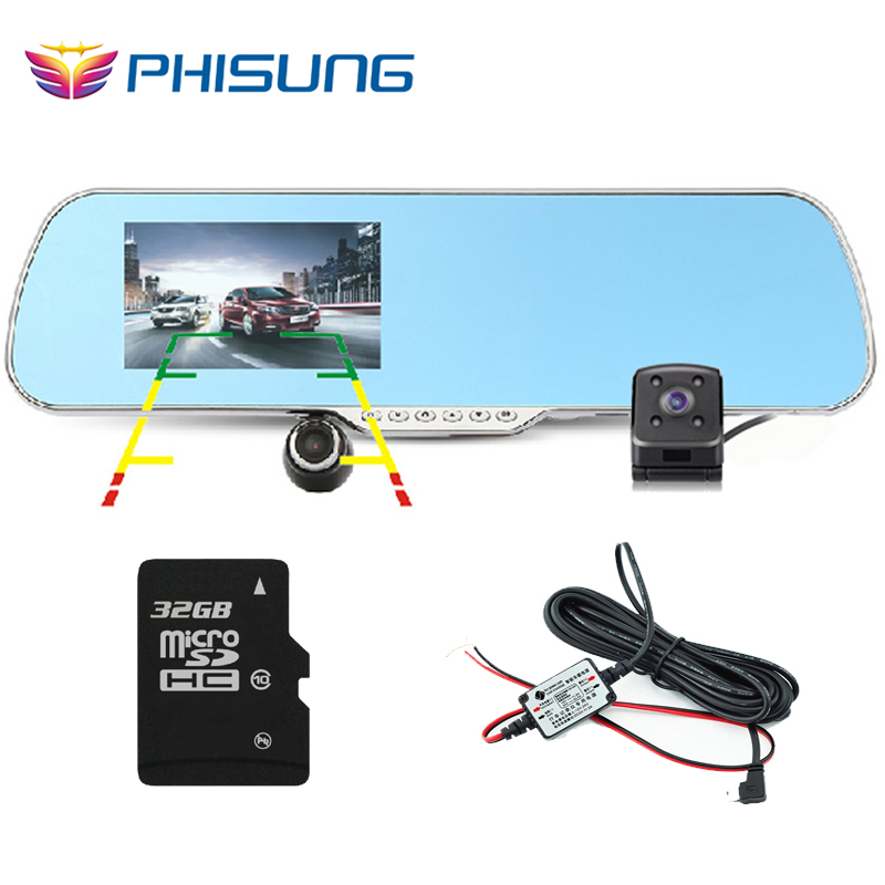 "Android GPS car rearview mirror camera dvr +Dual Lens with 720P back rear cam+ 5.0"" IPS Screen+RAM 512MB ROM 16GB+32GB TF card(China (Mainland))"