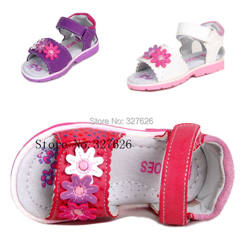 On sale 1pair Brand Kids Leather Sandals Girl Soft Shoes,Super quality Children Outdoor Orthopedic Shoes