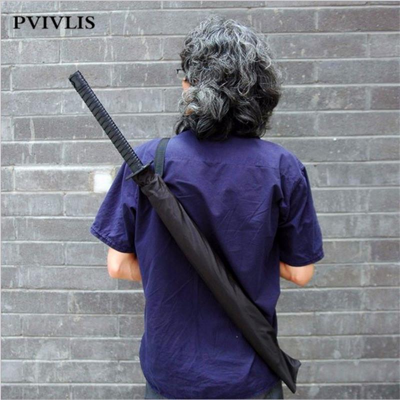 Ninja-like Japanese Samurai Sword Umbrella Windproof Men Umbrella Big Metal Shaft 8/16/ 24 Ribs Black Umbrella High Quality(China (Mainland))