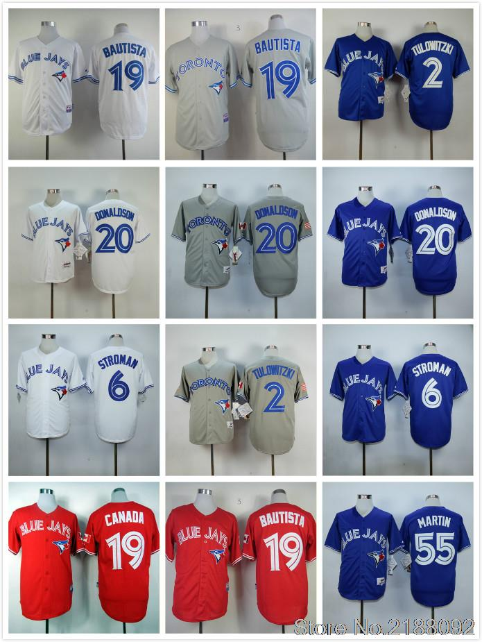 Toronto Blue Jays jerseys cheap #19 Jose Bautista jersey throwback baseball #20 Josh Donaldson #6 Marcus Stroman jersey(China (Mainland))