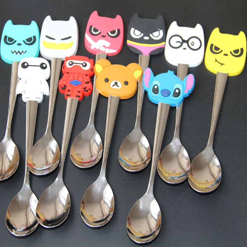 Carton Stainless Steel Baby Tableware Multicolor Kids Baby Spoon Tea Coffee Spoon 1 Piece