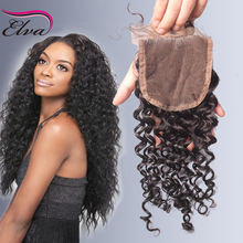 7A Brazilian Deep Curly Lace Closure 100% Virgin Human Hair 3.5×4 Curly Closure Bleached Knots Free Middle 3 Way Part Free Ship