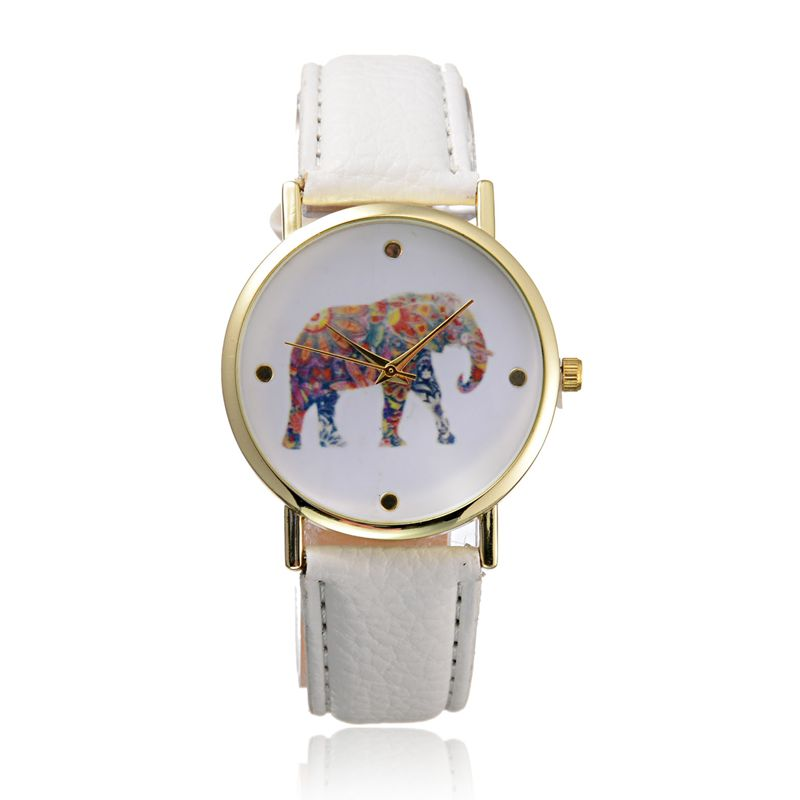 LZ 2015 New Fashion 11 Colors Casual Brand Leather Strap Wristwatch Simple Style Elephant Quartz Watch Women W34(China (Mainland))