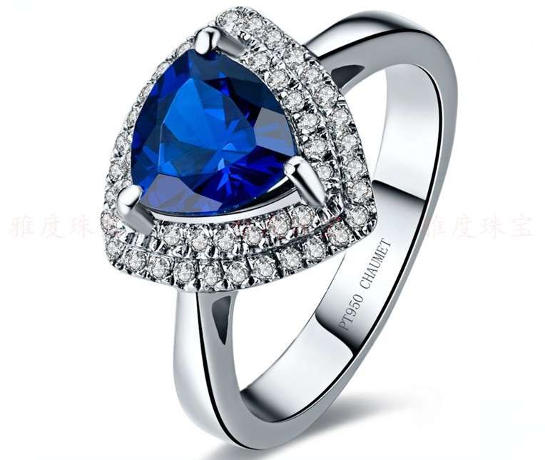New Design Triangle Shape Simulate Sapphire Jewelry Brilliant 2CT Micro Paved Synthetic Gemstone Ring 925 Silver Platinum Plated(China (Mainland))