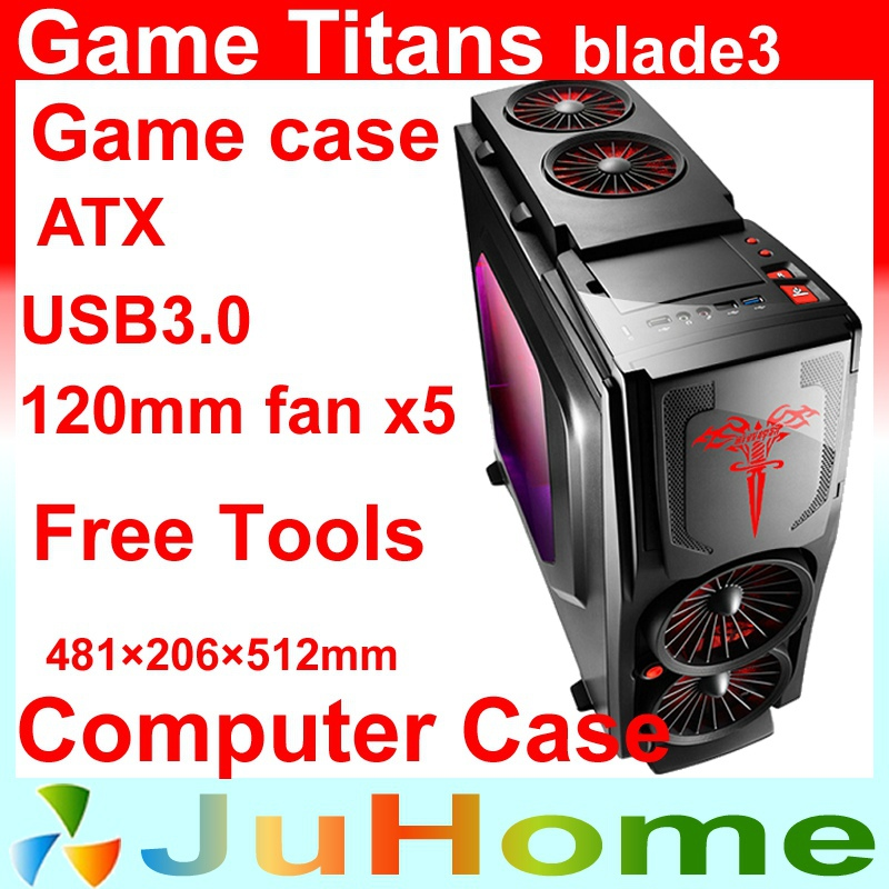 Game Computer case, 120mm fan *5, 7 PCI slots, USB3.0, Free Tools, game case, gamer computer, Game Titans Blade3(China (Mainland))