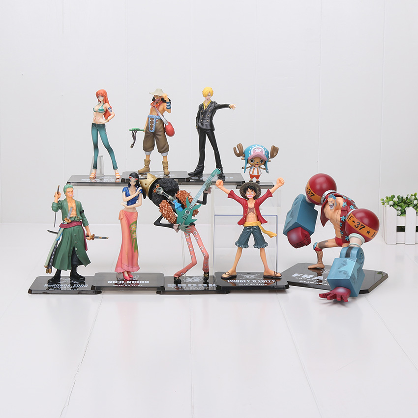 9pcs/lot 6-19cm One Piece 2 Years Later Monkey D Luffy Zoro Usopp Brook Franky Nami Nico Chopper Sanji PVC Action Figure toy