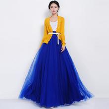 Daisy & Na Elastic High Waist Tulle Mesh Pleated Multi-Layer Bowknot Maxi Full Skirt 108