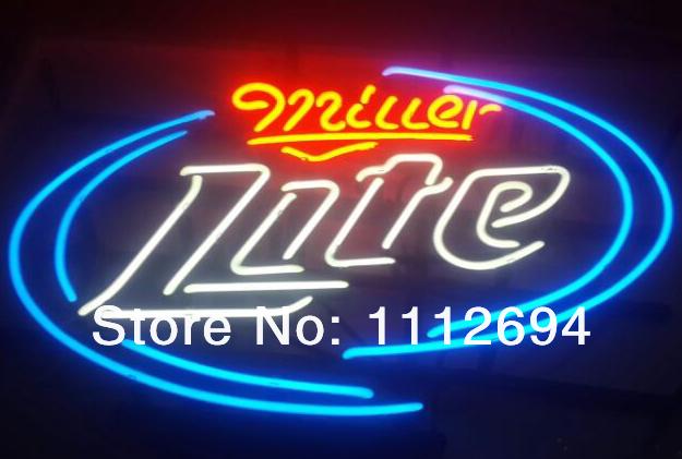 new miller lite glass neon sign beer bar pub light sign18 x14 jpg. Black Bedroom Furniture Sets. Home Design Ideas