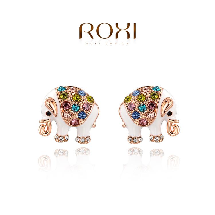 2015 Sale Hot Sale Trendy Women Crystal Tin Alloy Animal Cc Roxi Selling Earrings Wholesale Jewelry Rose Elephant E298(China (Mainland))