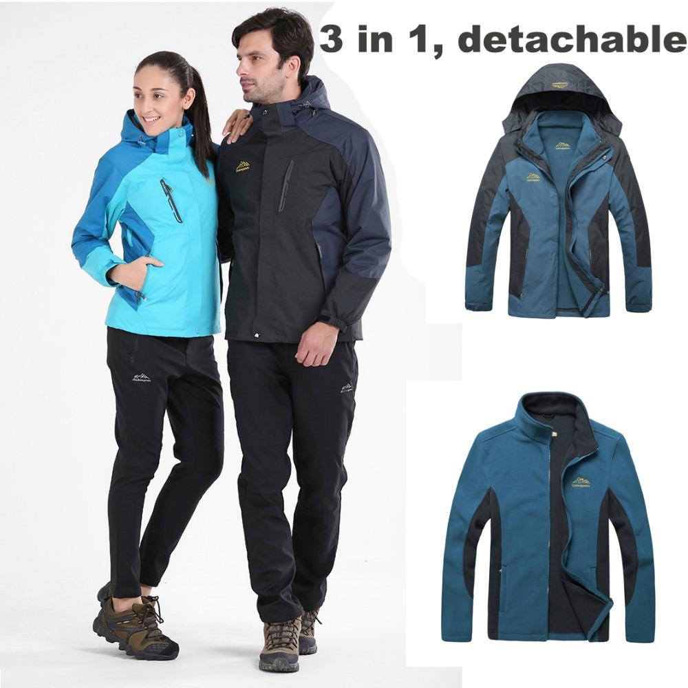 Winter 3 in 1 Ski suit polartec women Hiking Thermal Jacket Polar fleece men ski jacket womens ski suit<br><br>Aliexpress