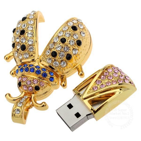 W80 Hot Sale Cute Metal Crystal Ladybug 100% Enough 4GB 8GB 16GB 32GB USB Flash Drive Memory Stick Pen Drive Flash Card Key(China (Mainland))