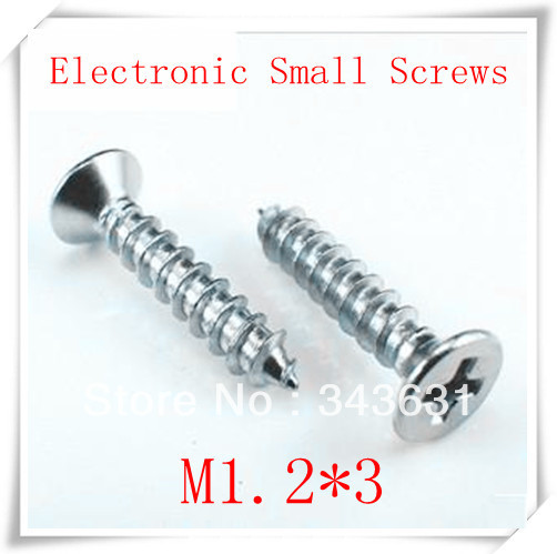 M1.2*3 carbon steel with Nickel Plated cross countersunk self-tapping screw/ M1.2*3 Electronic small screws1000pcs/lot<br><br>Aliexpress