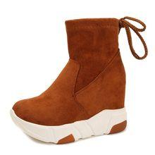 COOTELILI Frauen Stiefeletten Plattformen Schuhe Frau High Heels Innen Höhe Zunehmende Faux wildleder Stiefel Lace up Turnschuhe 35- 39(China)