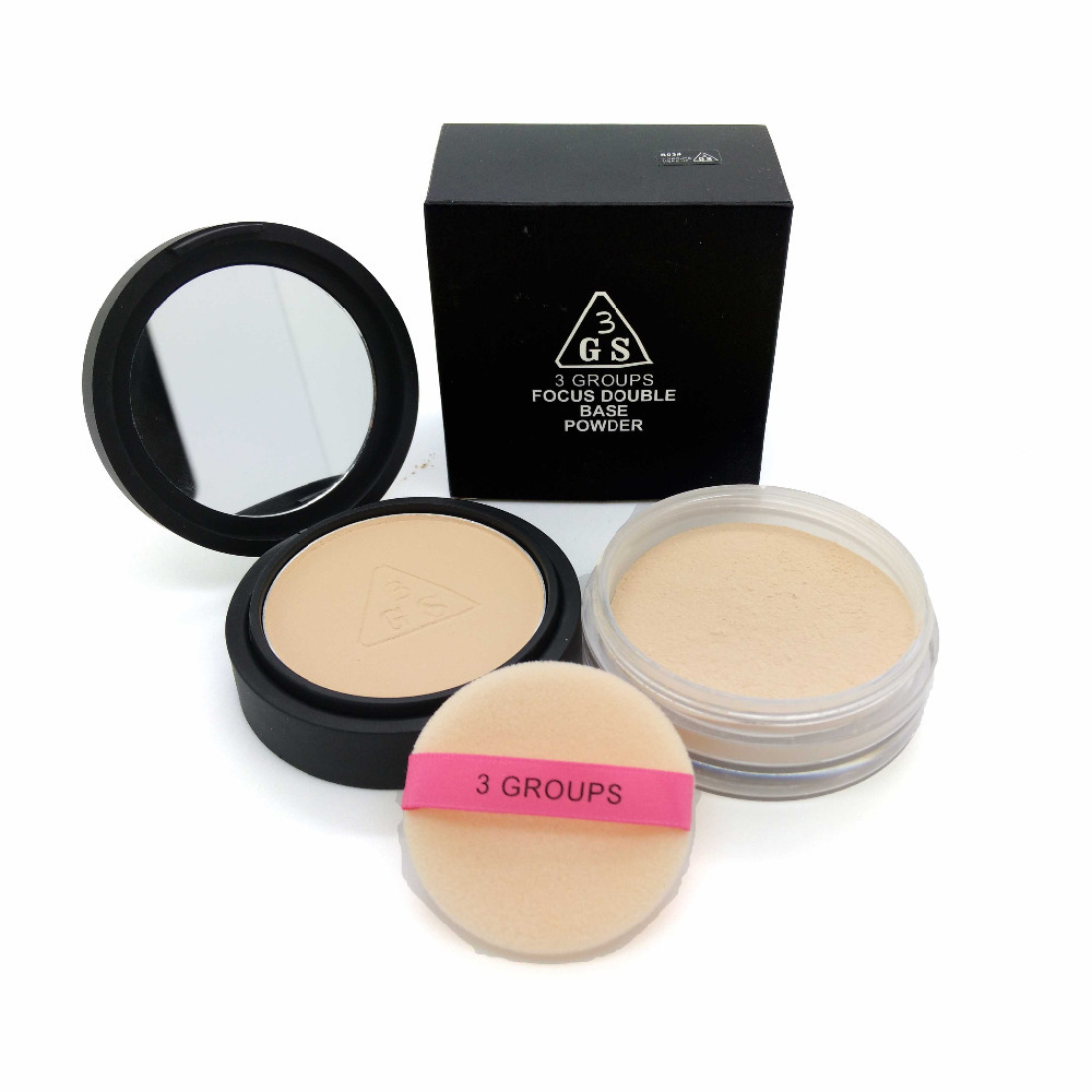 DOUBLE BASE Makeup contour pressed powder Cosmetic translucent pearl mineral Ultra-Light Perfecting Finishing loose powder(China (Mainland))