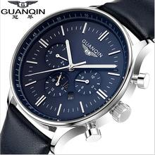 New watches men luxury brand GUANQIN Quartz-Watch fasion casual sport leather clock relogio masculino relojes goldblack 2015