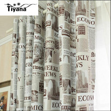 New arrival Europe window curtains retro newspaper designer bedroom curtain full sun-shading curtains for living room DS064#40(China (Mainland))