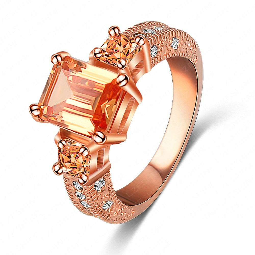 Perfect Luxury AAA Cubic Zirconia High End Rings Fashion 18K Rose Gold Platin