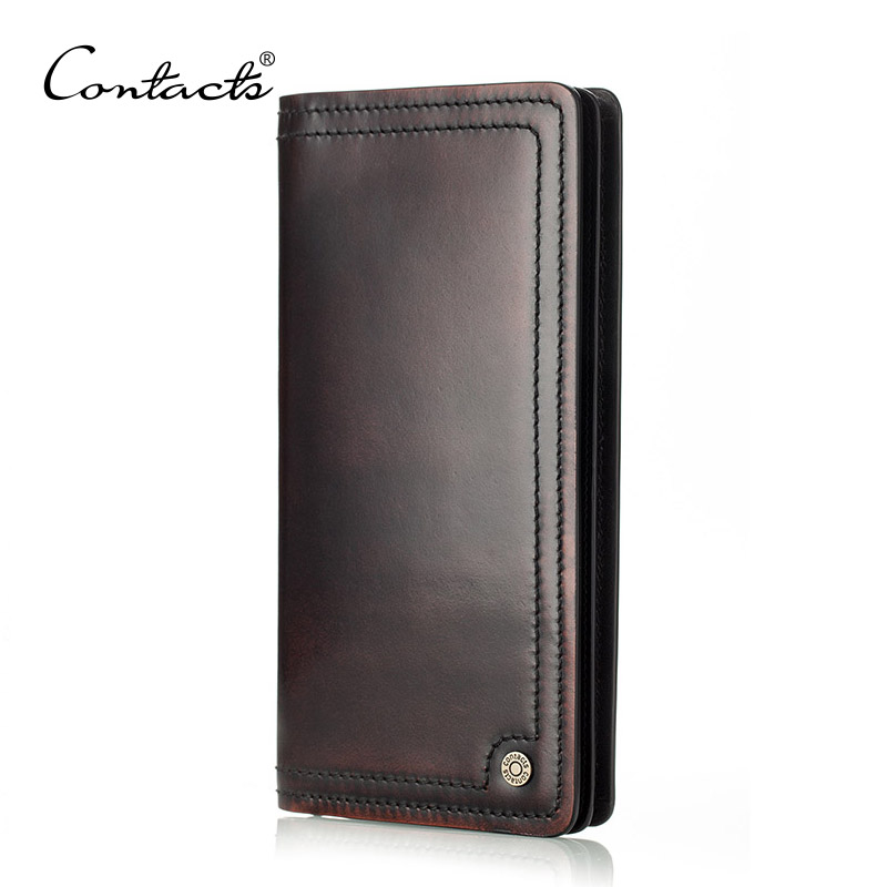 Men Business Wallet Vintage Leather Brush Off Long Purse Handmade Id&amp;Credit Card Holder Brown Leather Wallet Mobile Phone Clutch<br><br>Aliexpress