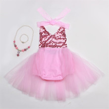 2PCS New Baby Girls Party Dresses Summer Sequined Lace Mesh Tutu sequins dovetail Rompers Dress+ necklace Girls Wedding Dress(China (Mainland))